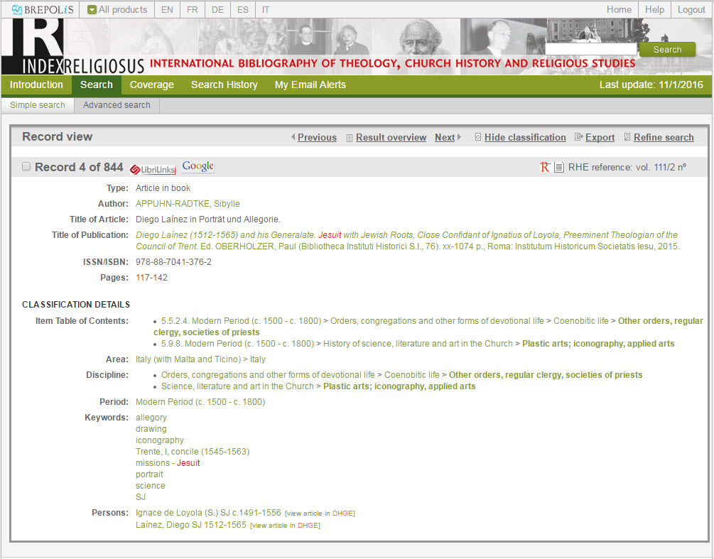 Index Religiosus: view of a bibliographical record