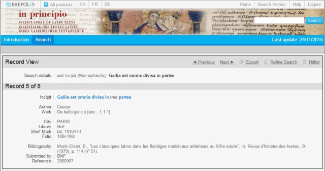 In Principio database: screenshot of an Incipit